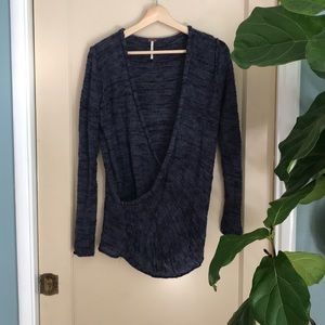 Free People navy blue Gotham wrap knit sweater